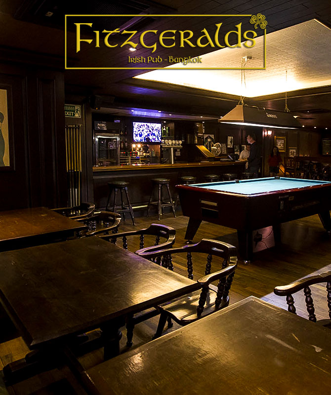 Fitzgeralds Irish pub has a pool table upstairs located on soi nana bangkok